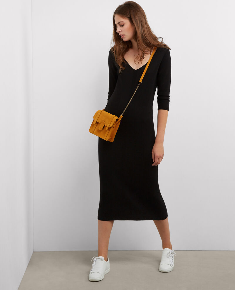 Vestido de lana largo midi Noir Barnabe