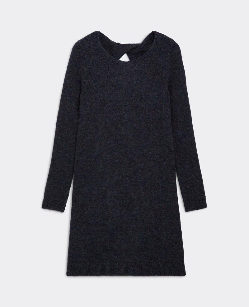Vestido corto con mohair, lana y corte en la espalda Bleu Bonami
