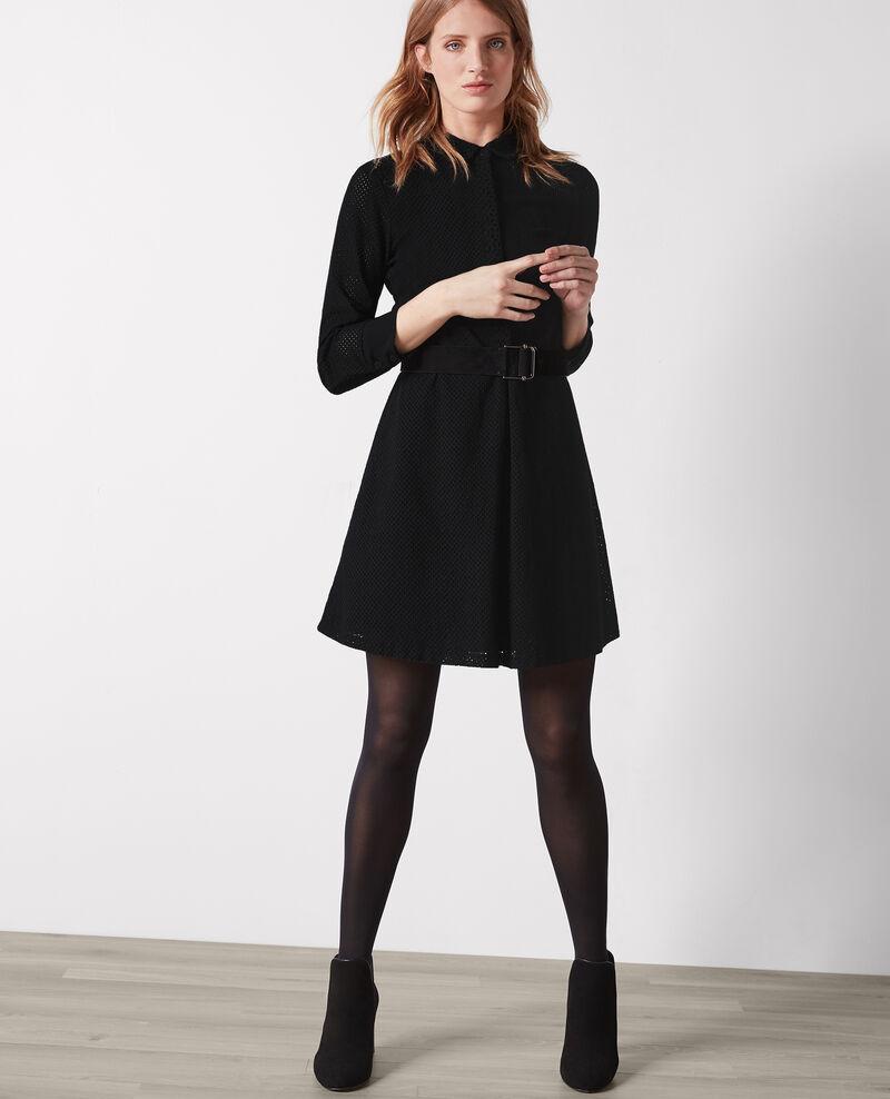 Vestido con bordado inglés Noir Camomille