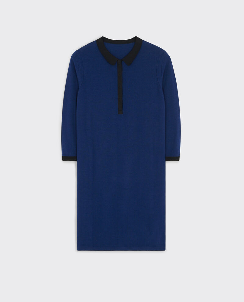 Robe style polo en maillle fine de laine merinos Indigo/black Curly