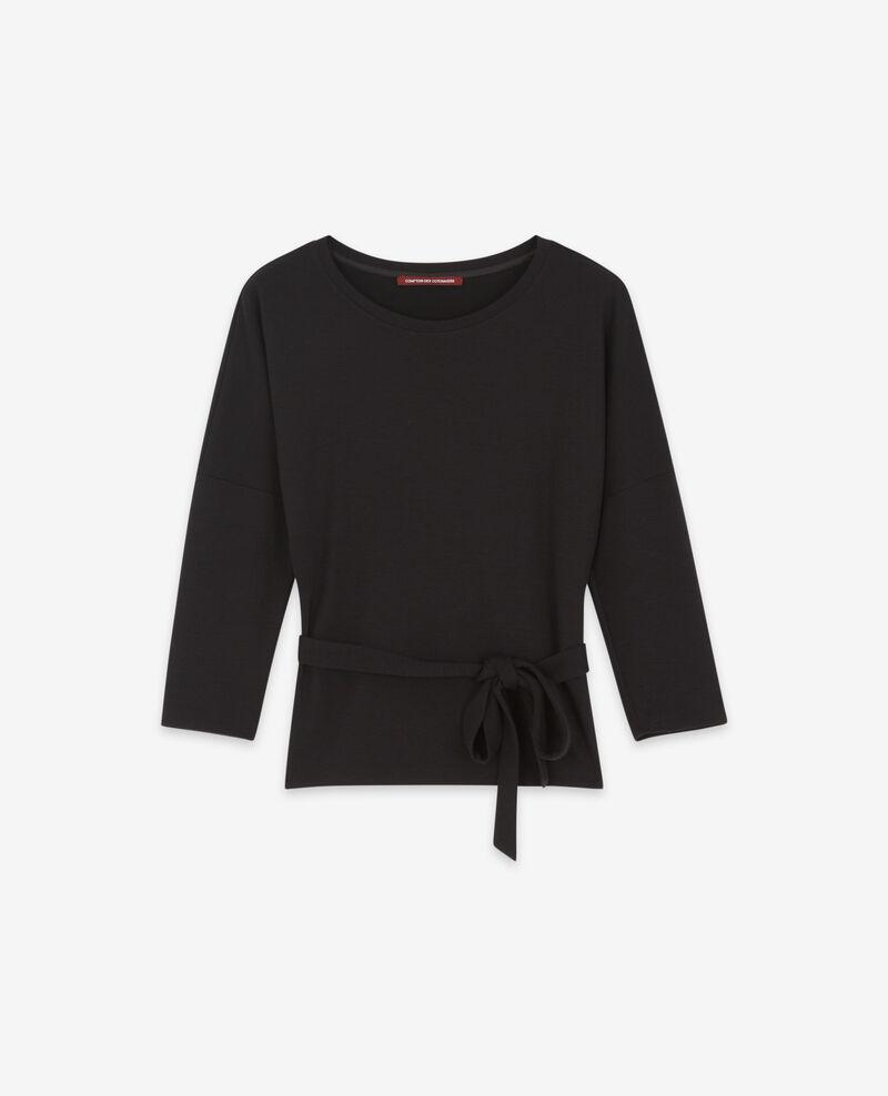 Sweathirt à ceinture avec laine Noir Debongout