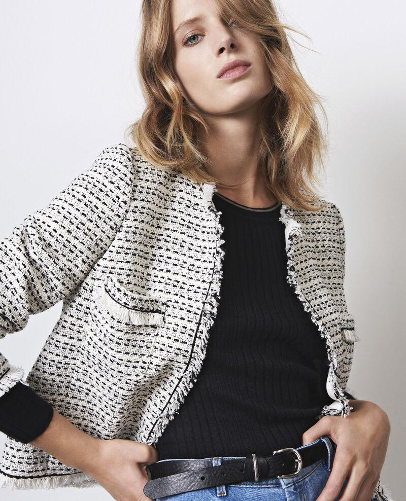 Veste en tweed ouverte black white ciao comptoir des - Veste en cuir comptoir des cotonniers ...