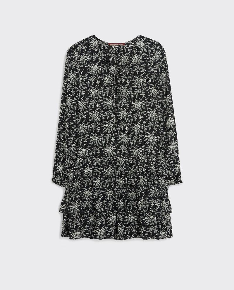 Gemustertes Volant-Kleid Romantic garden black Cachou