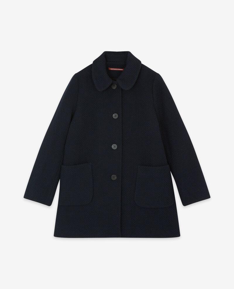 Manteau en tweed avec laine Navy Diarritzo