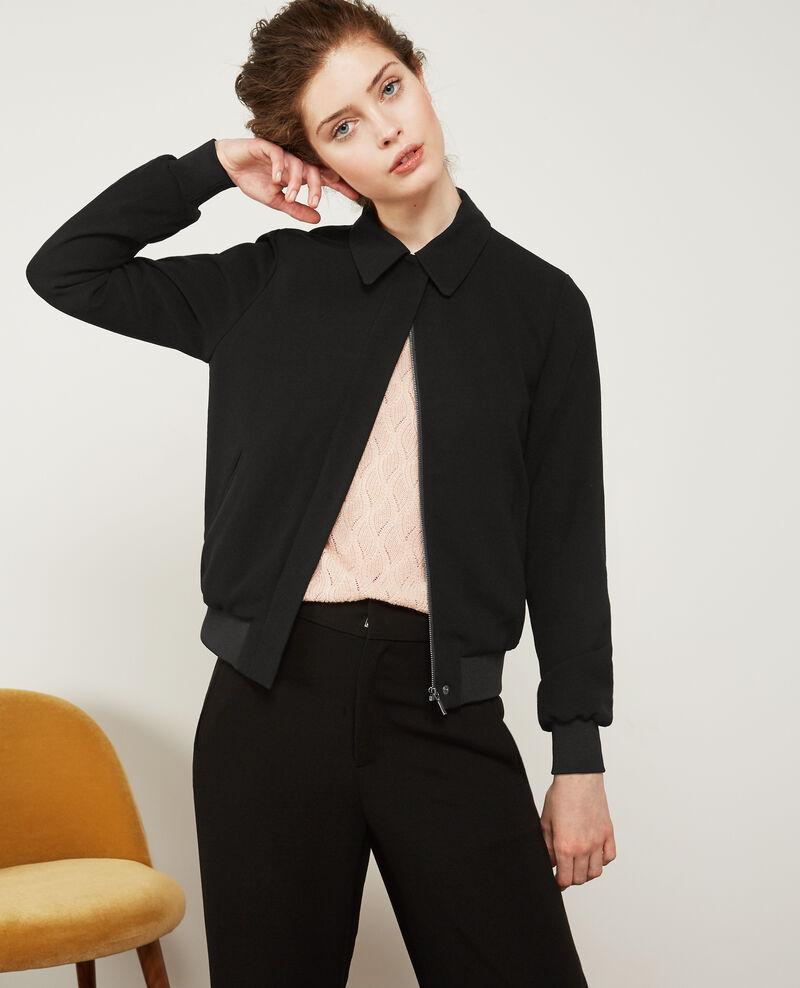 Crepe bomber style jacket Noir Djapan