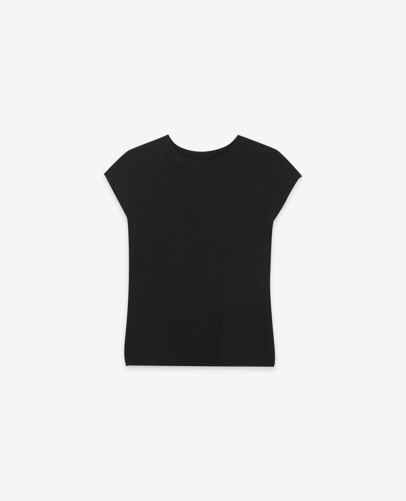 Pull manches courtes zéro coutures Noir Dalande