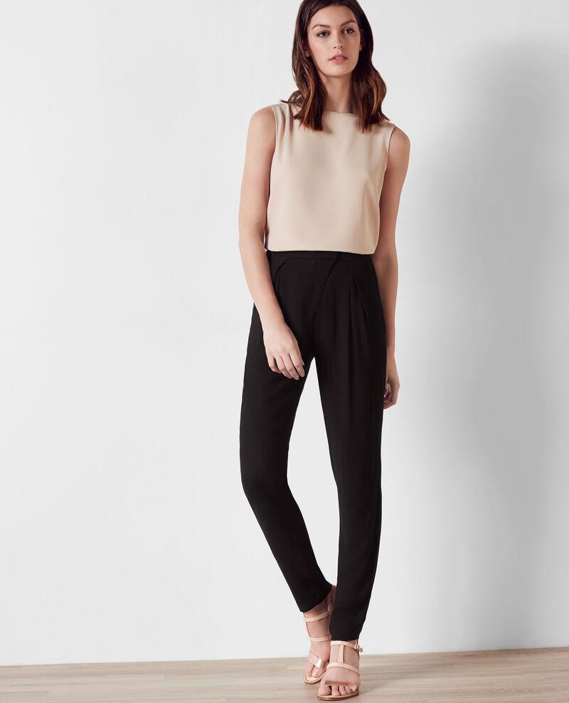pantalon fluide avec fermeture asym trique noir baguette comptoir des cotonniers. Black Bedroom Furniture Sets. Home Design Ideas