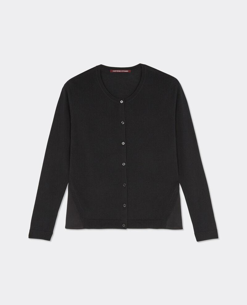 Cardigan laine et soie Noir Baltimore