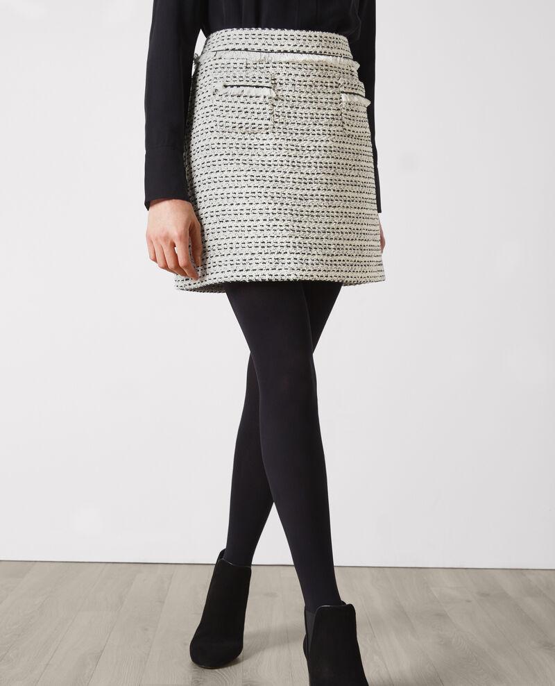 Falda corta de tweed Off white/black Carlage