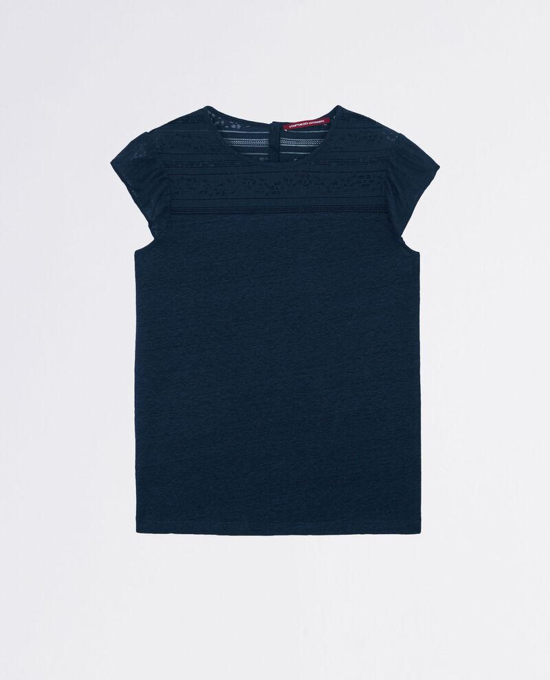 Leinen-T-Shirt mit Spitze und Volants Midnight Choupi