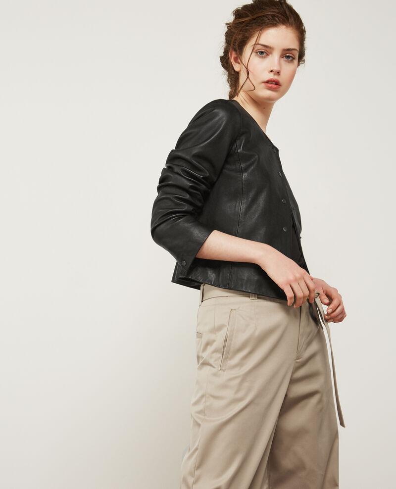 Blouson en cuir noir diantre comptoir des cotonniers - Veste en cuir comptoir des cotonniers ...