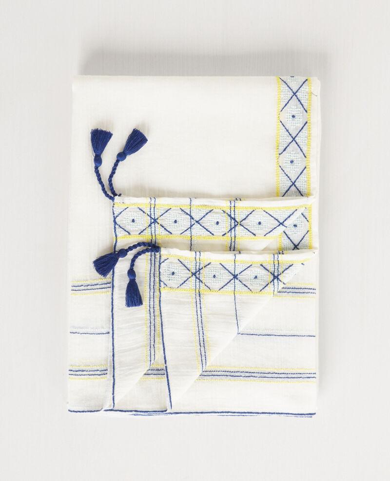 Fular con bordados y borlas Off white Cembro