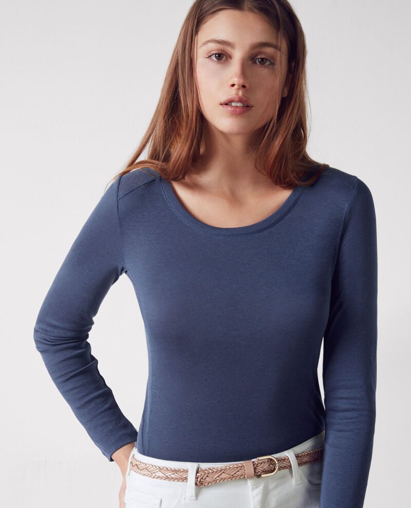 Camiseta con detalles calados Ink blue Cambridge