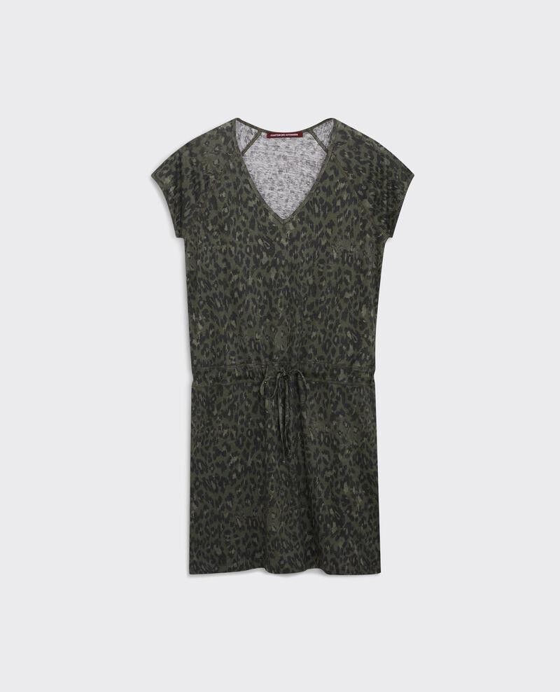Vestido tipo camiseta de lino estampada Wild panthere dark kaki Cachaca