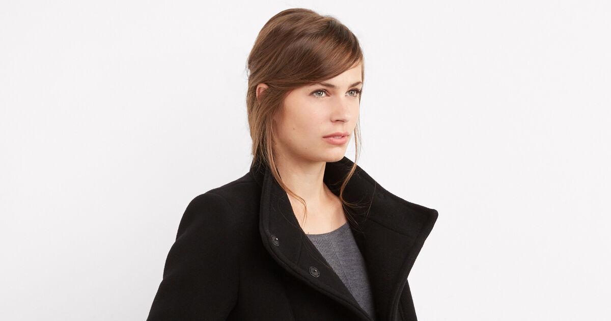 Manteau cintr en laine noir bimalu comptoir des cotonniers - Comptoir des cotonniers recrutement ...