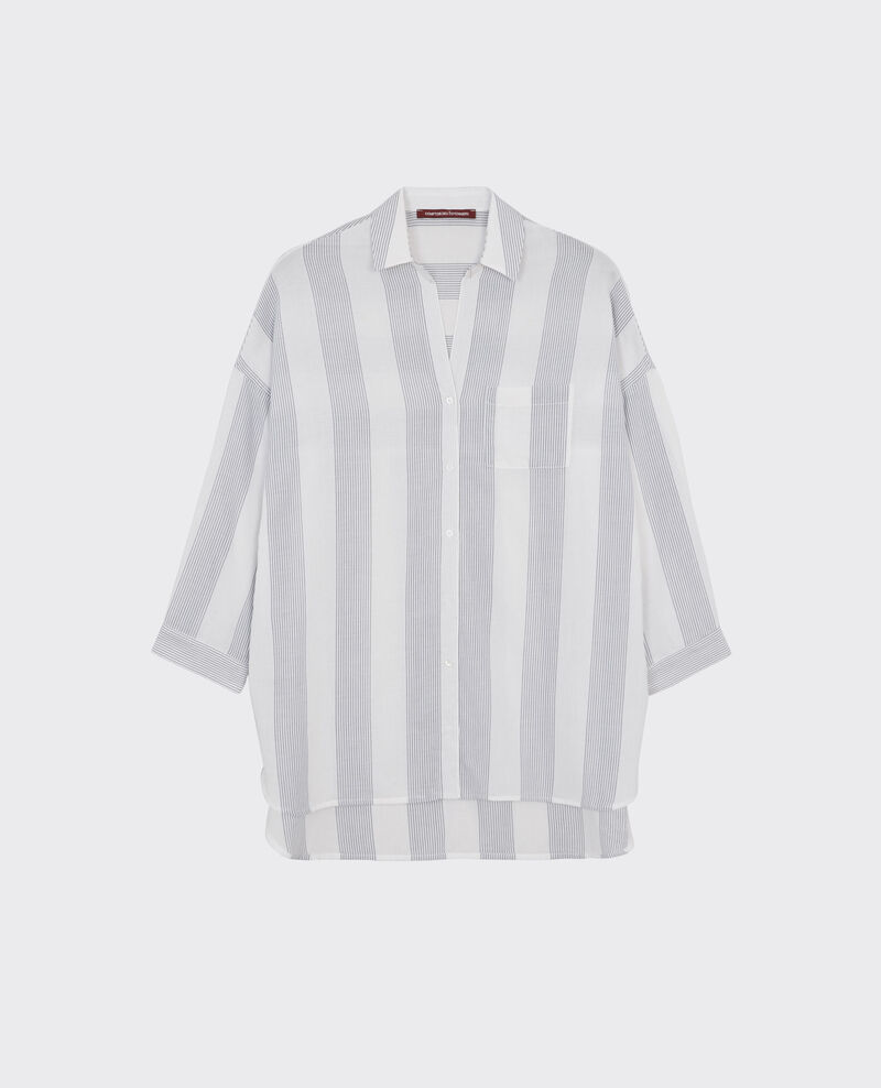 Gestreifte Oversize-Bluse Off white/midnight Cineclub