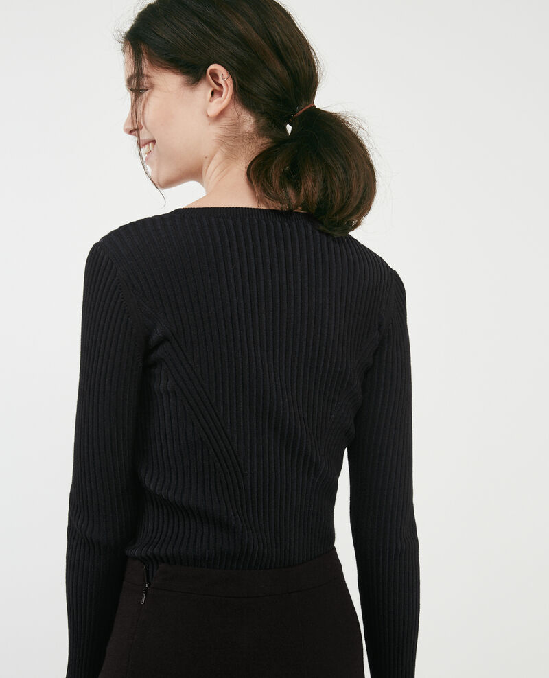 Two-tone ribbed jumper Noir Dominos
