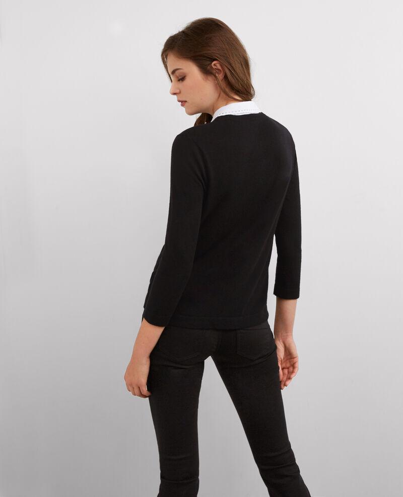 Pull avec laine et col chemise amovible Noir Britany