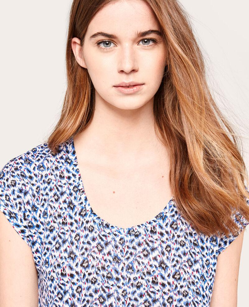 T-shirt en lin imprimé Surabaya bleuet Alombre
