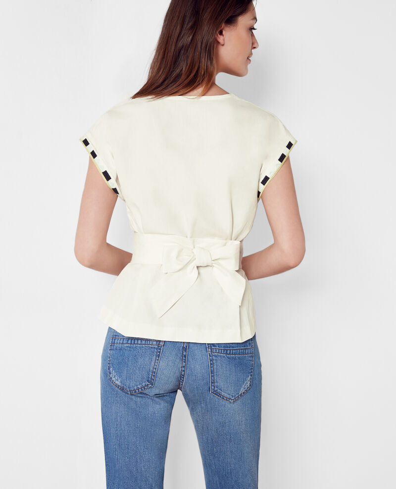Embroidered silk and linen blouse with belt Lin Cocotier