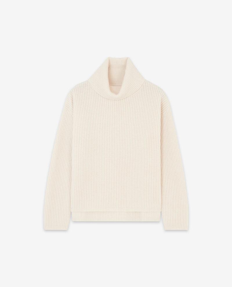 Jersey con cuello vuelto 100% Lana Off white Dacheville