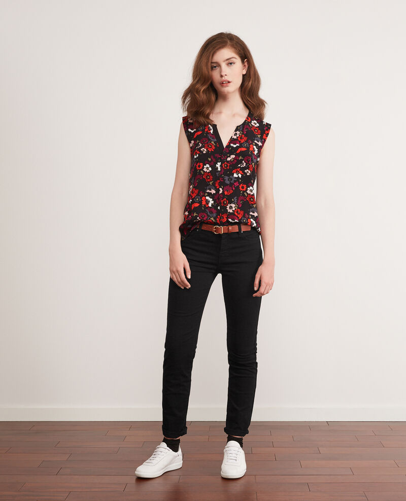 Printed blouse Poppies black Donjuan