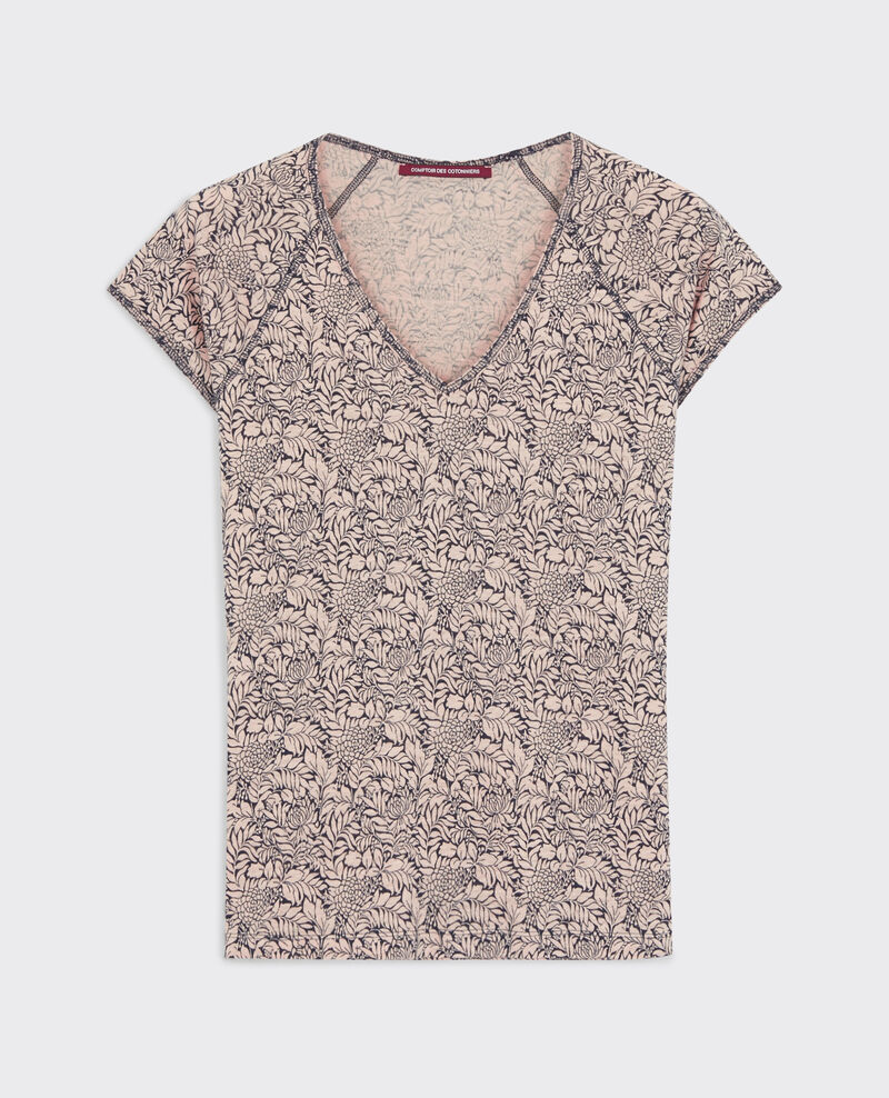 T-Shirt imprimé en lin Poetry flowers peach Confiture