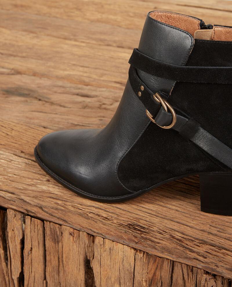 Leather panelled boots Noir Dessuite