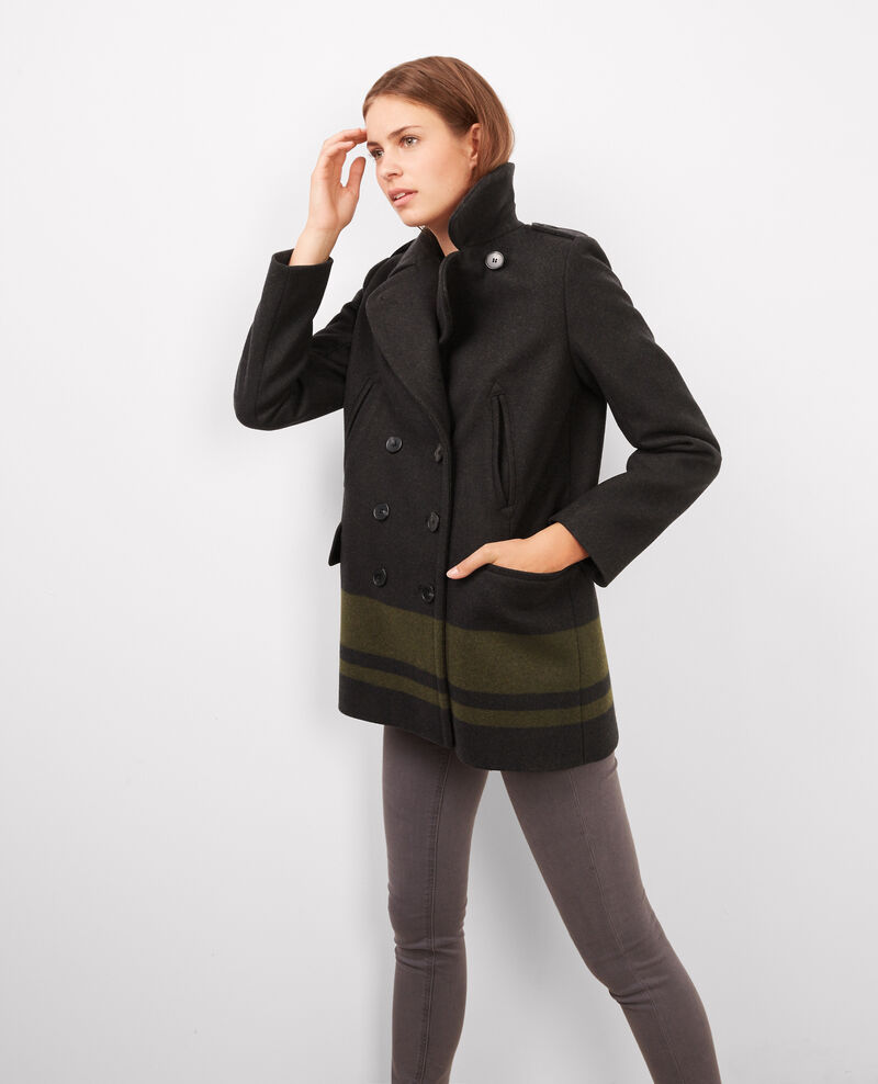 Manteau caban bicolore avec laine Dark hunter green Biarmy