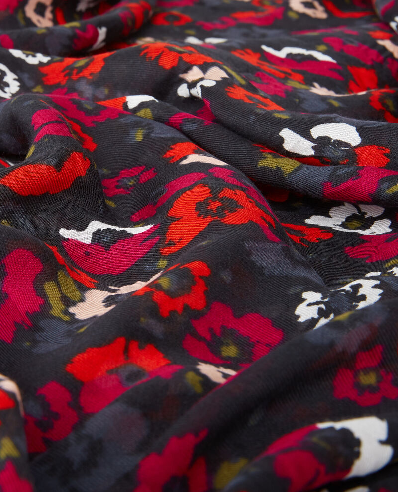 Fular estampado efecto arrugado Poppies black Daccord