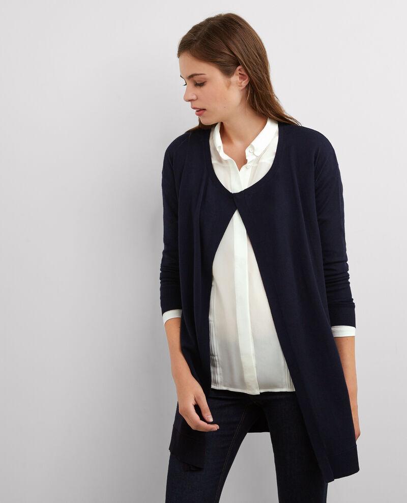 Cardigan long bi-matière en laine et soie Dark ocean Balti