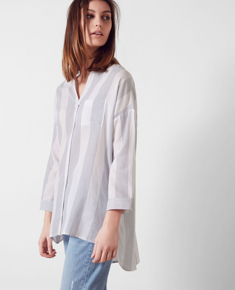 Oversize cotton shirt Off white/midnight Cineclub