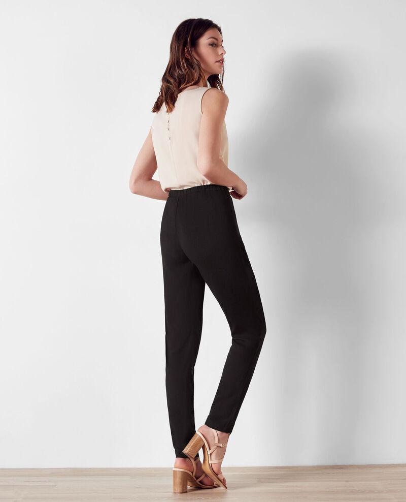Pantalon fluide avec fermeture asymétrique Noir Baguette