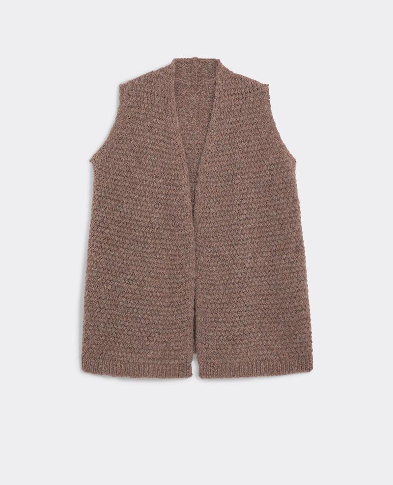 Cardigan ouvert sans manches avec mohair et laine Beige Beyblade
