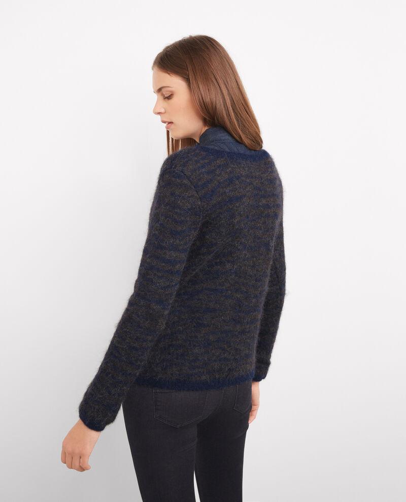 Jersey con estampado cebra de alpaca y mohair Dark ocean/dark grey Bozebre