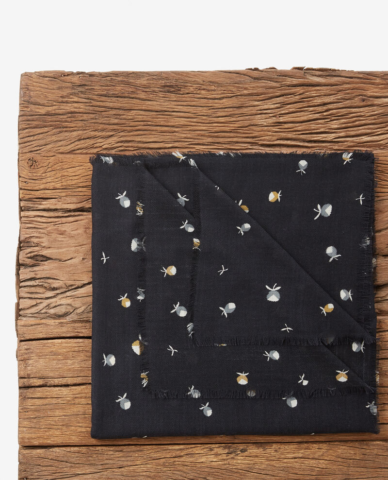 100% wool printed scarf Pinecones dark navy Dalexia