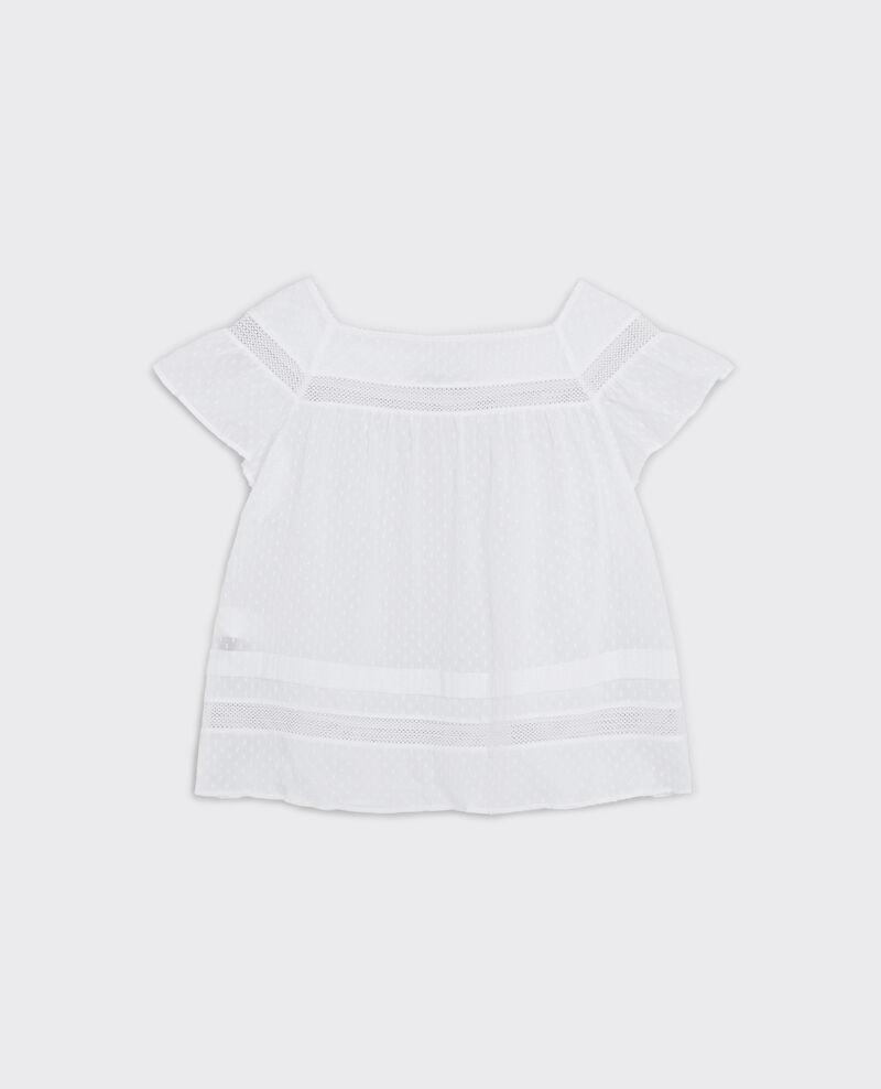 Bluse aus Baumwoll-Plumetis-Voile Blanc Calcul