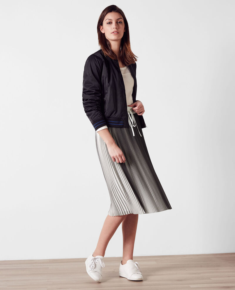 Two-tone pleated skirt Black/white Carine