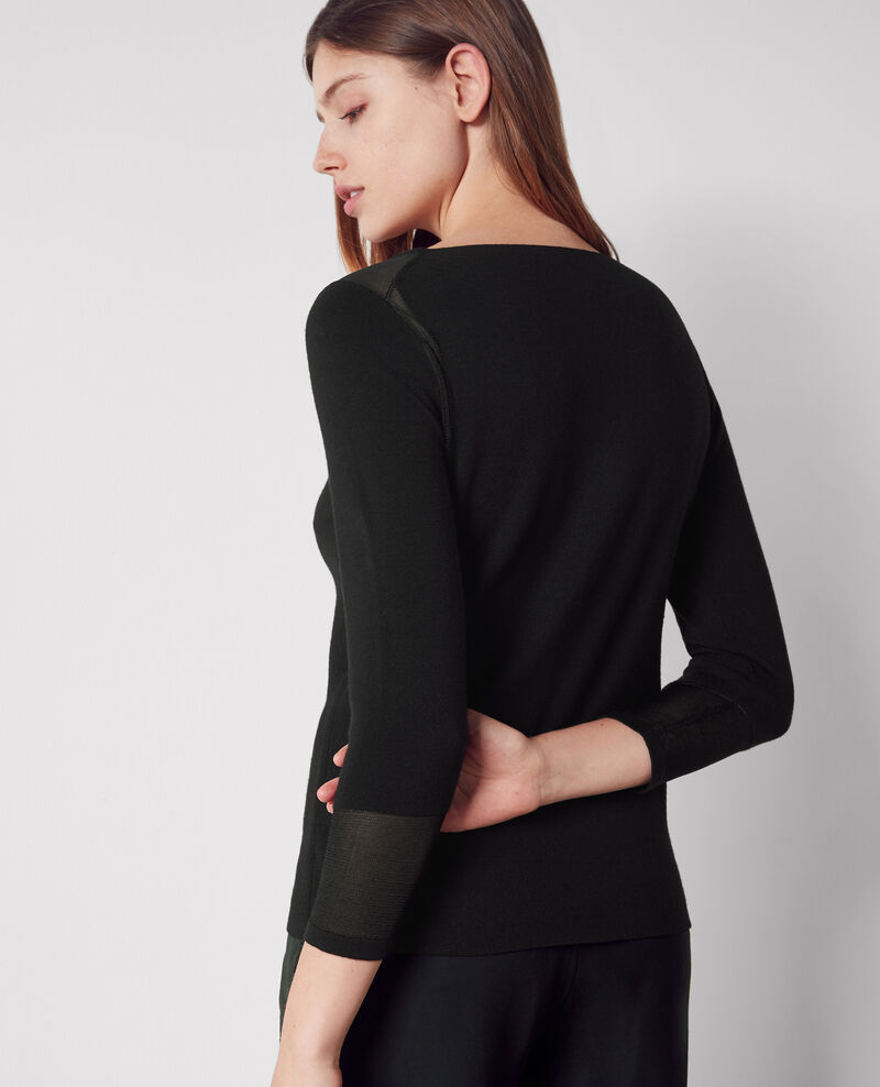 Woollen jumper with boat neck Noir Cirtaki