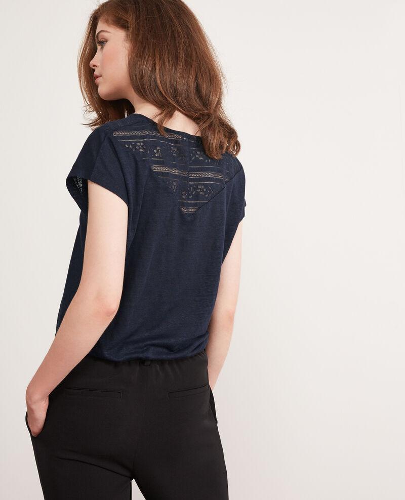 Linen t-shirt with lace insert Midnight Choubidou
