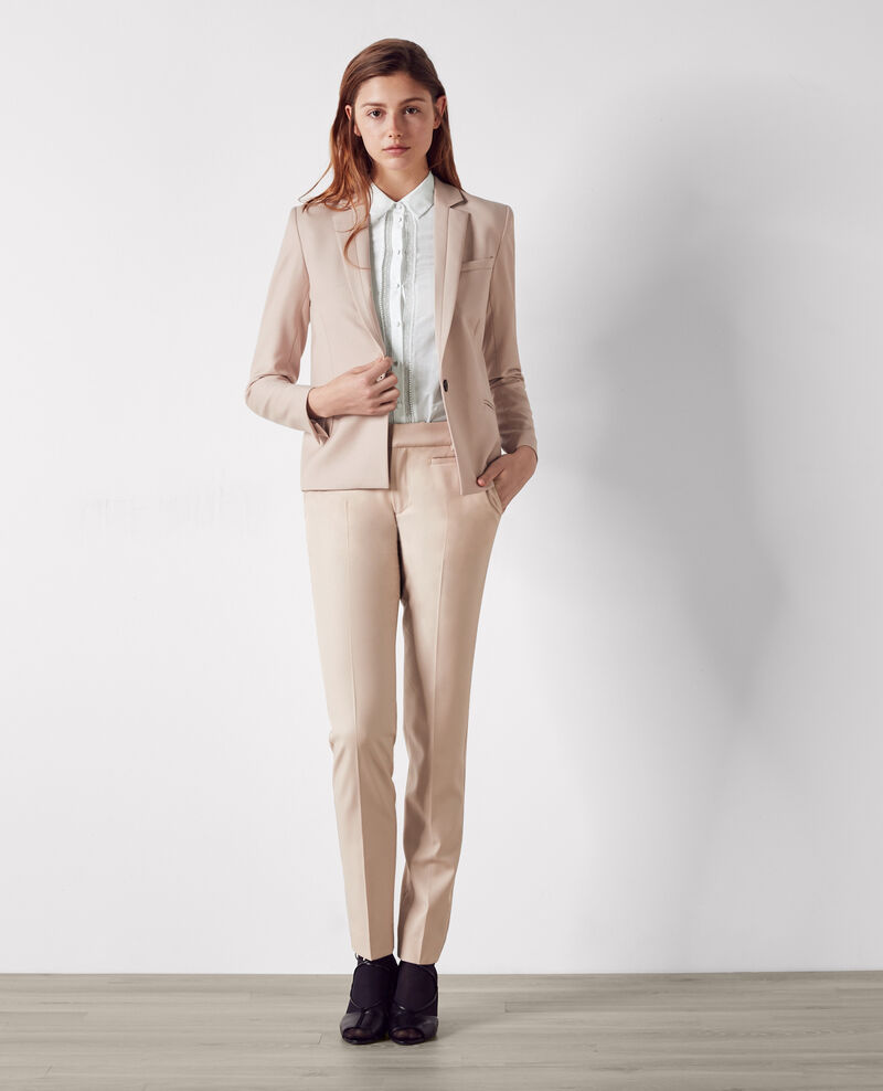 Pantalon office cigarette en laine Misty rose Calvados