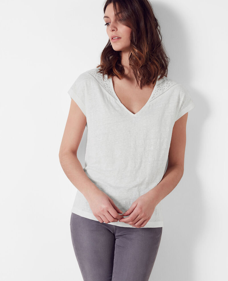 Linen t-shirt with lace insert Off white Choubidou