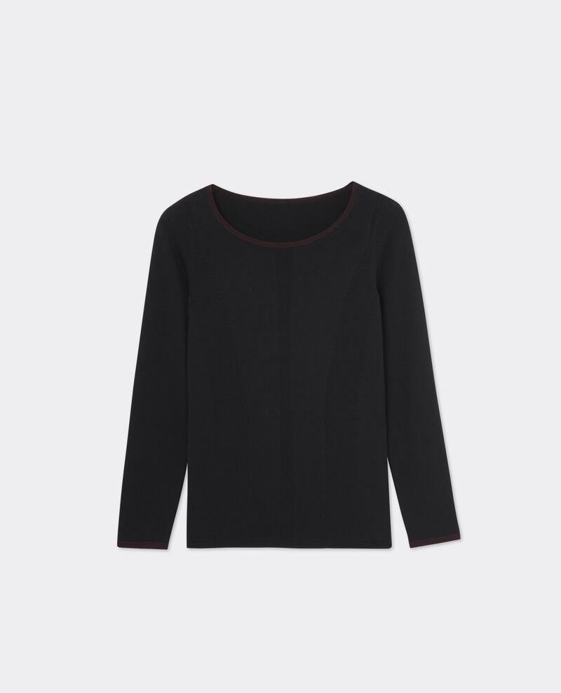 pull en laine merinos noir maroon boulbi comptoir des cotonniers. Black Bedroom Furniture Sets. Home Design Ideas