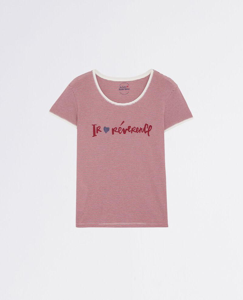 """Camiseta de rayas marineras """"Ir♥révérence"""" Raspberry Carpe"""