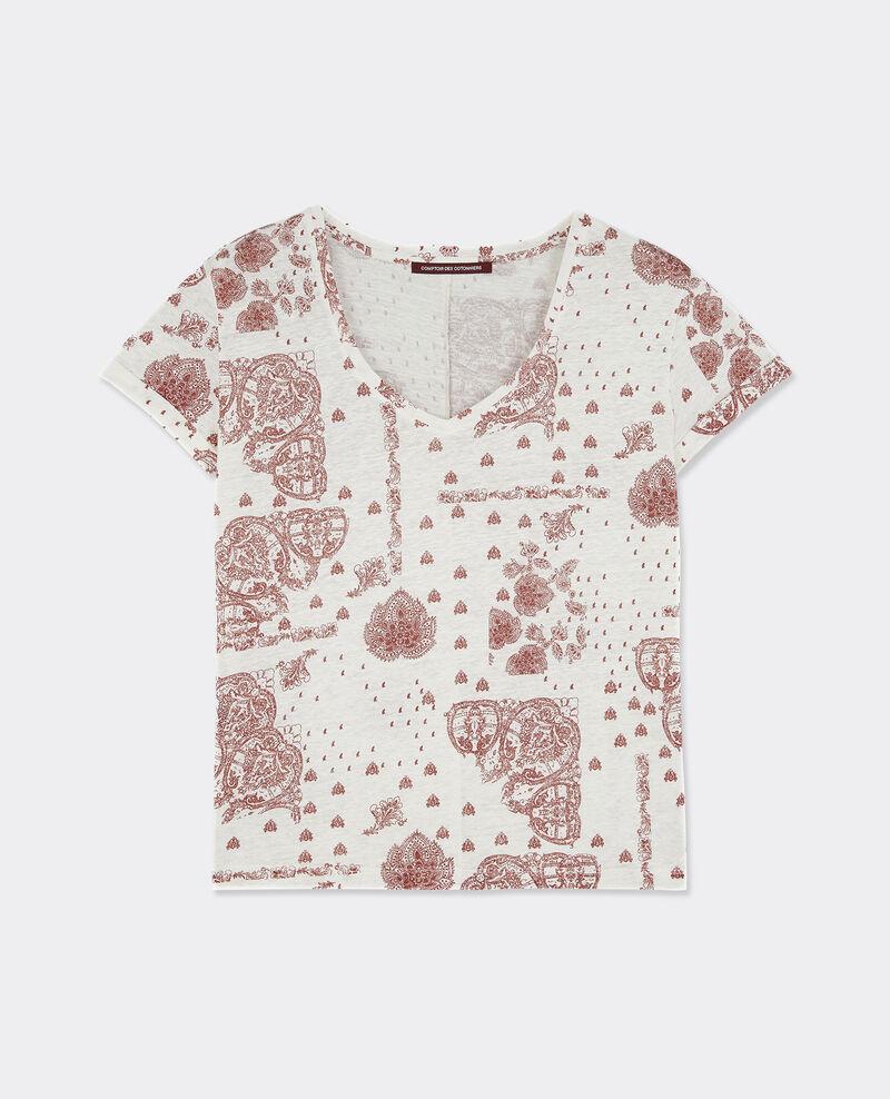 T-shirt imprimé en lin Bandana brick Baklawa