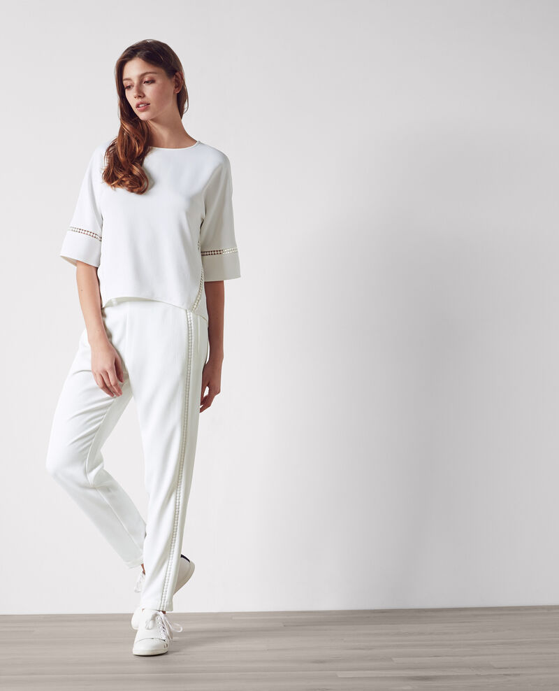 Crepe trouser with braid detail Blanc Canobou
