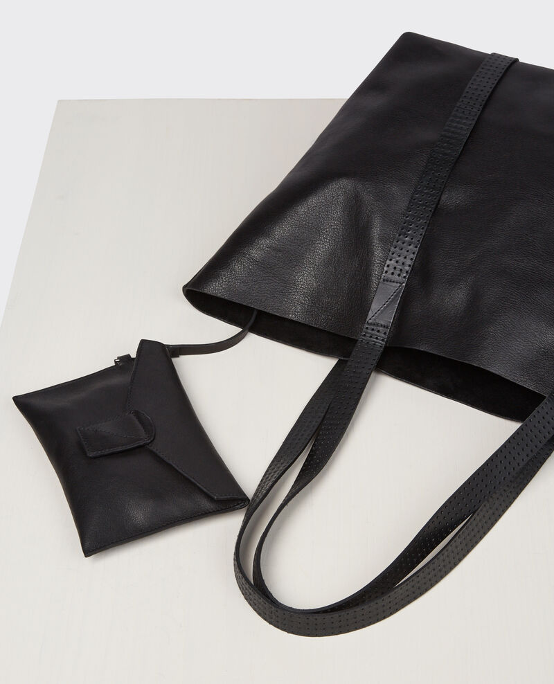 Leather tote bag Noir Caballo