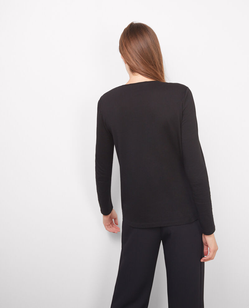 Camiseta de manga larga con dos tejidos Birdy noir Baria