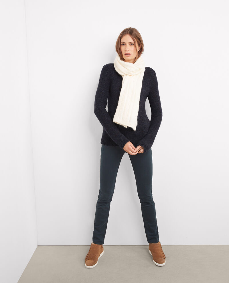 Pull à découpe au dos avec mohair et laine Bleu Boncoeur