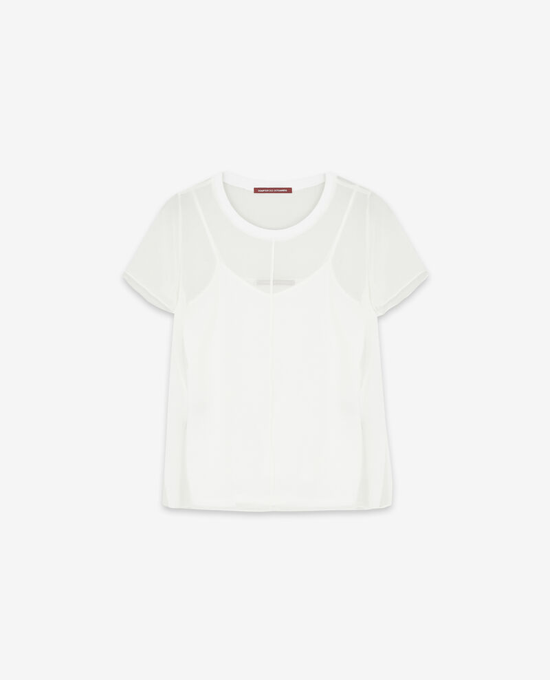 T-Shirt aus Seiden-Voile Off white Dartiste